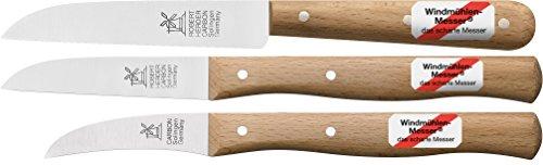 3er Set Gemüsemesser, kleines Küchenmesser, Schälmesser, Windmühlenmesser Klassiker klein