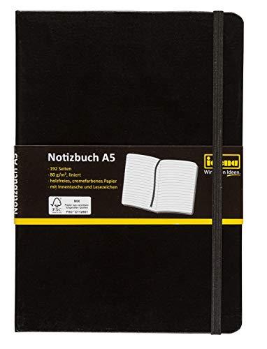Idena 209284 - Notizbuch DIN A5, FSC-Mix, liniert, Papier cremefarben, 192 Seiten, 80 g/m², Hardcover in schwarz, 1 Stück