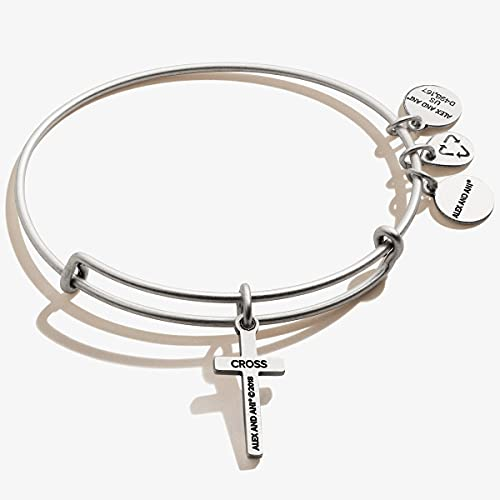 Alex and Ani Divine Guides Expandable Bangle Bracelet for Women, Cross Charm, Rafaelian Silver Finish, 2 to 3.5 in