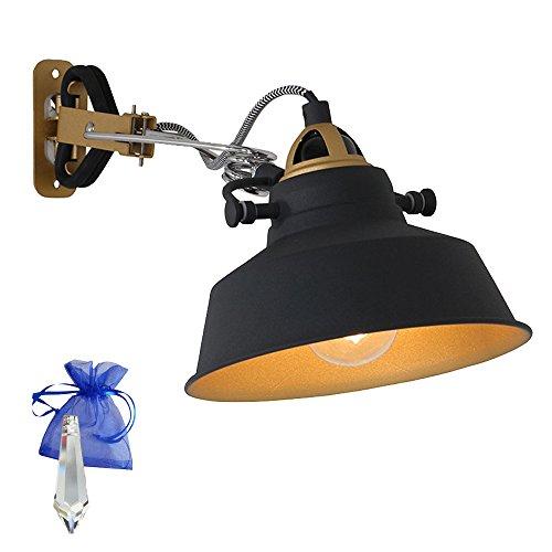 Klemmleuchte Schwarz matt E27 Fassung 230V Vintage Klemmlampe Wandleuchte Industrial Leselampe für LED und Glühlampe im Werkstatt-Leuchte Fabriklampen Loft-Lampe Retro Look 1320ZW + Giveaway