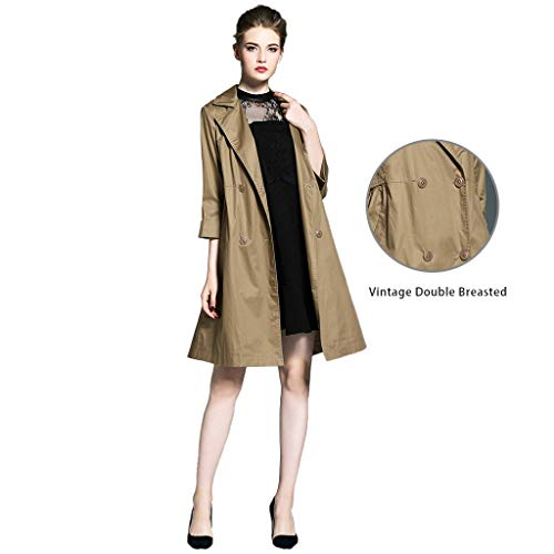 Windbreakers Korean Version of Women's Trench Coat Loose in Spring and Autumn Lady Jacket Jacket Design Style Loose mid-Length Coat (Color : Brown, Size : S)