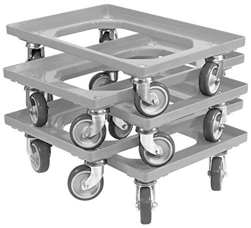 5 Stück Transportroller für Kisten 60 x 40 cm mit 4 Lenkrollen in grau