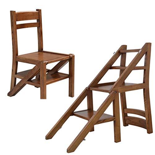 Echelle Escabeau Replier chaises, Escalier en Bois Massif 4 Escabeau Escalade Polyvalente Fleur Support/étagère de Rangement QIQIDEDIAN