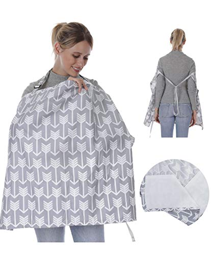 Nursing Cover for Breastfeeding Babies, Lightweight Breathable Cotton Privacy Feeding Cover with Built-in Burp Cloth, Nursing Apron for Breast Feeding Covers Ups - Adjustable Strap - Arrow