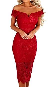Womens Off The Shoulder Floral Lace V Neck Midi Dress Short Sleeve Knee Length Twin Set Elegant Pencil Dress Red XL