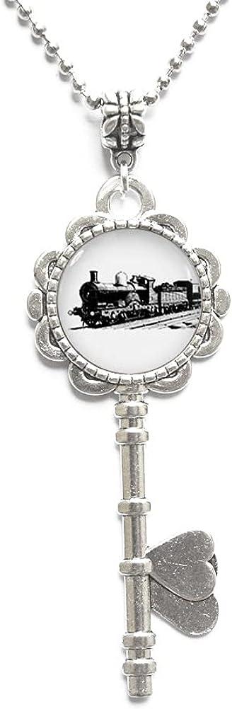 Collar de llave de tren, encanto de tren, motor de vapor, collar de llave de locomotora, regalo de tren para hombres, collar de joyería de ferrocarril, collar de llave de tren de motor de vapor, JV59