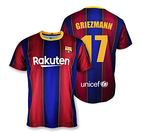 Camiseta Replica FC. Barcelona 1ª EQ Temporada 2020-21 - Producto con Licencia - Dorsal 17 Griezmann - 100% Poliéster - Talla S