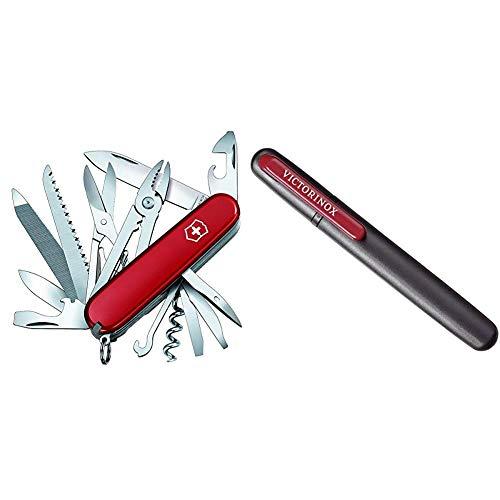 Victorinox Taschenmesser Handyman (24 Funktionen, Kombizange, Holzmeissel, Metallsäge) rot & Dual-Messerschärfer, Tragbar, Schleifstein für Grobschliff, Keramikplättchen für Feinschliff