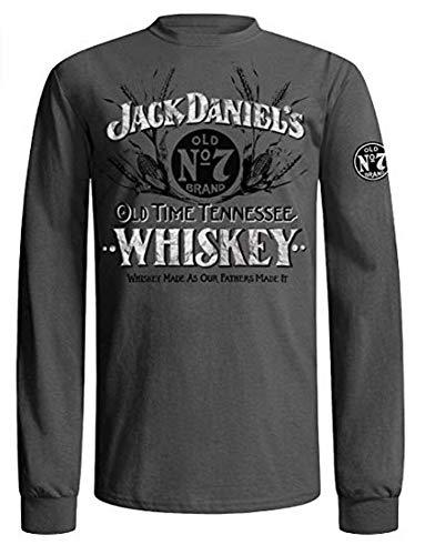 Jack Daniel's Vintage Whiskey Long Sleeve T-Shirt, Charcoal Grey (Large)