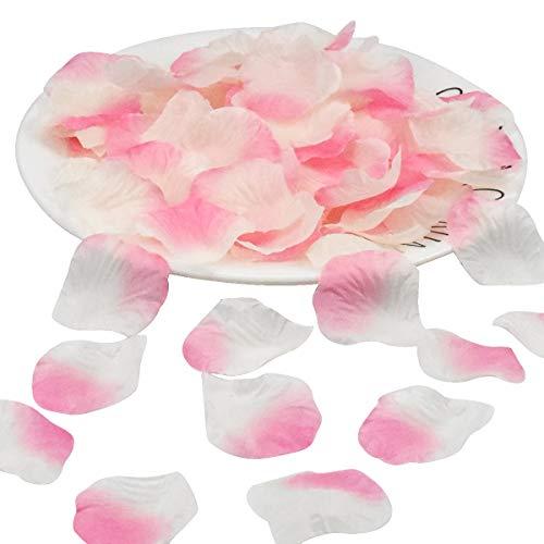 1500 Pezzi Petali di Rosa Finti, Petali di Fiori Artificiale di Seta, Petali Matrimonio Coriandoli per Festa, Notte Romantica, Letto Spargimento Tavolo Decorazione (Rosa + Bianco)
