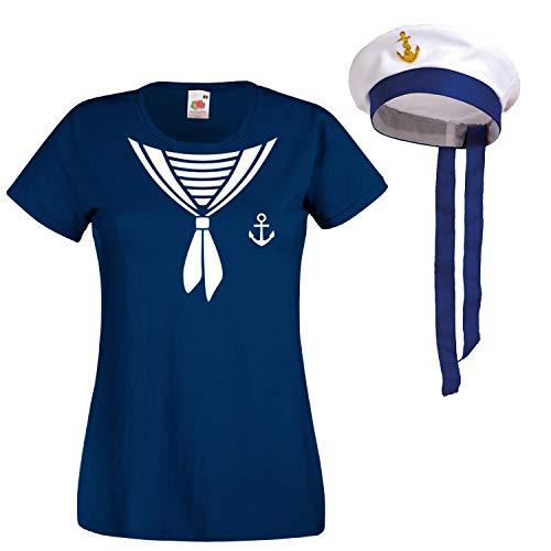 Shirt-Panda Damen T-Shirt · Matrosen Kostüm · wahlweise mit Mütze Karneval Gruppen Fasching Seefrau Verkleidung Party Matrosenmütze Darts Unisex Hut · Marineblau (Druck Weiß) mit Mütze L