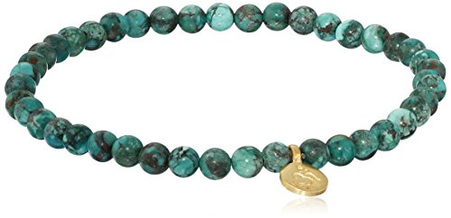 Satya Jewelry Turquoise Gold Plated Protective Om Stretch Bracelet