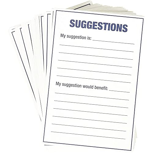 100 Count Refill Suggestion Box Cards for Suggestion Boxes - Improvement Suggestion Cards - 100 Cards Per Pack - 4 x 6 Inches