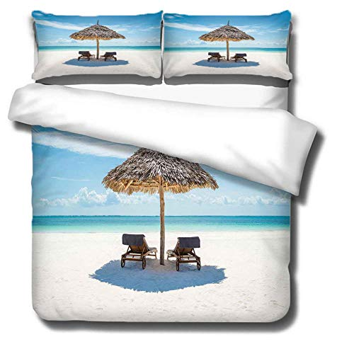 DJDSBJ Duvet covers super king size beds Printing Beach 260x240cm + 2 pillowcases.