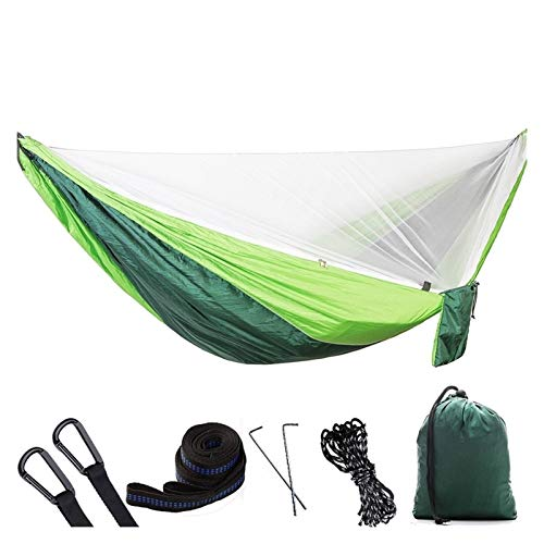 Nanna Hammock with Mosquito Net Double Camping Hammocks Bug Net Waterproof Portable for Backpacking Hiking Travel Outdoor Portable Camping Hammock (Color : Green)