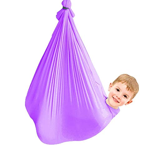 Sensory Therapy Swing Kids Adjustable Indoor with Special Need Snuggle Cuddle Hammock Children Autism ADHD Aspergers 440lbs Load Capacity (Color : Purple, Size : 100x280cm)
