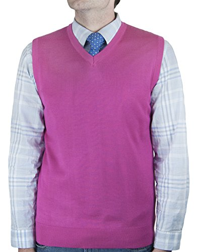 Blue Ocean Big Men Solid Color Sweater Vest-4X-Large Hot Pink
