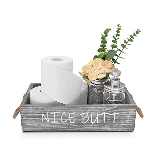 GBtroo Bathroom Decor Box -Toilet Paper Storage - Farmhouse Tissue Box Holder w/16oz Mason Jar Soap...