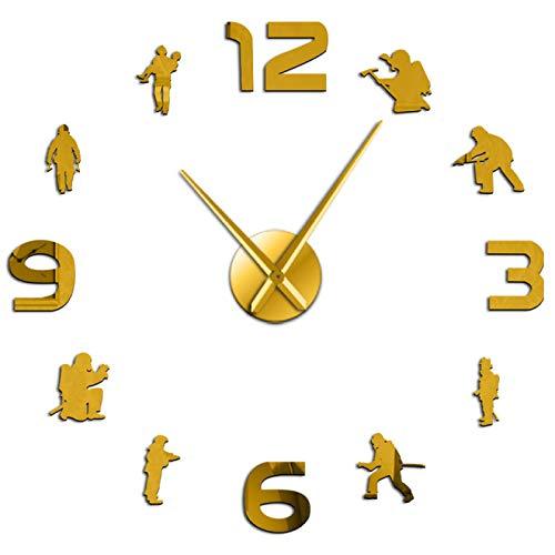 xinxin Relojes de Pared Bomberos Soldados de Fuego DIY Grande Departamento de Bomberos Signo de Pared Frameles Mudo Arte de protección contra Incendios de Bombero