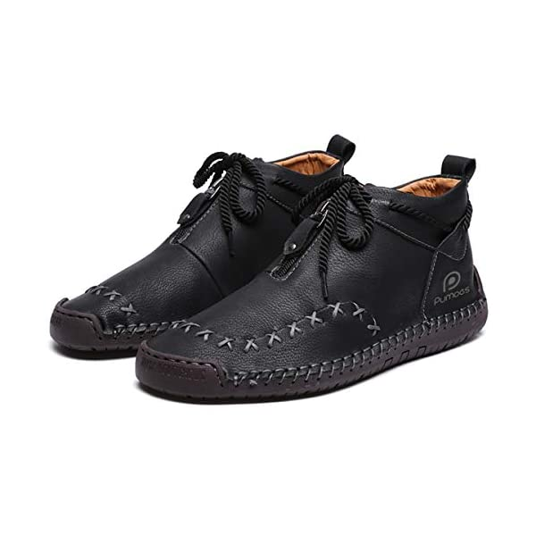 Pumoes Mens Chukka Boots Classic Hand Stitching Zipper Soft Leather Ankle Boots Outdoor Anti-Skid Driving Shoes Lightweight Casual Lace-up Slip on Loafer Flat Oxford Shoes