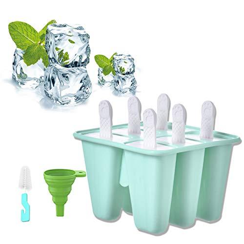 Eisformen Silikon Eis am Stiel Formen BPA Frei Wassereis Form Wiederverwendbare Eislutscherform Eis Pop Hersteller mit Reinigungsbürste und Klapptrichter 6 Hohlräume
