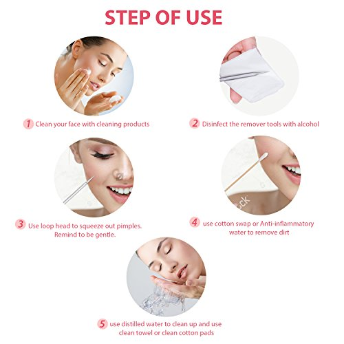 JPNK 6 PCS Blackhead Remover Comedones Extractor Acne Removal Kit for Blemish, Whitehead Popping, Zit Removing for Nose Face Tools with a Leather bag(Silver)