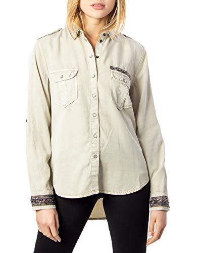 Desigual Damen CAM_ETHIO Hemd, Braun (Beige Primaveral 6063), Large (Herstellergröße: L)
