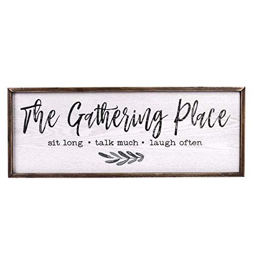 TERESA'S COLLECTIONS Gather Sign Large Farmhouse Kitchen Wall Sign Wooden Family Sign Rustic Wall Art Decor Sign for Dining Room Home Decor - The Gathering Place (32 x 12 inch)