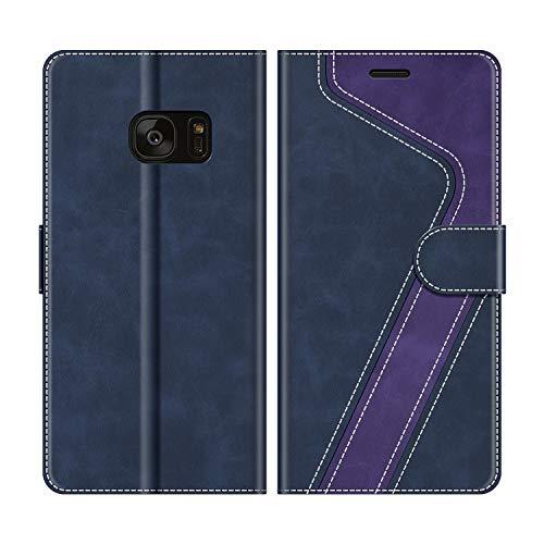 MOBESV Funda para Samsung Galaxy S7 Edge, Funda Libro Samsung S7 Edge, Funda Móvil Samsung Galaxy S7 Edge Magnético Carcasa para Samsung Galaxy S7 Edge Funda con Tapa, Azul Oscuro/Violeta