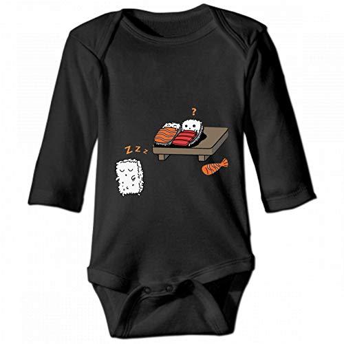 KioHp Funny Sushi Sleeping Unisex Baby Ronde hals lange mouwen Body, modieus baby klimpak zwart