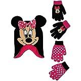 Disney Girls Minnie Mouse and Vampirina Winter Hat and 2 Pair Mitten or Glove Set (Toddler/Little Girl), Hot Pink Minnie Gloves 4-7