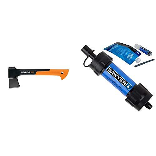 Fiskars 378501-1002 X7 Hatchet & Sawyer Products SP128 Mini Water Filtration System, Single, Blue