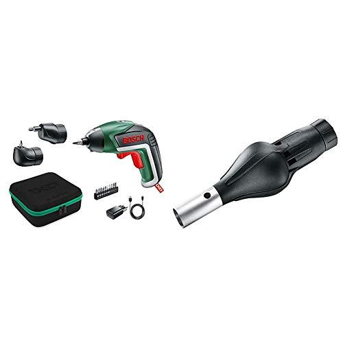 Bosch Akkuschrauber IXO Set (Winkelaufsatz und Exzenteraufsatz, 10 Bits, USB-Ladegerät, Softcase, 3,6 Volt, 1,5 Ah) & Grillgebläse Aufsatz für IXO