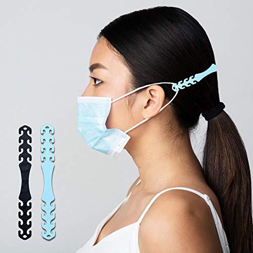 3 Stück schwarze Silikon-Maskenverlängerung, Maskenhalter, Ohrschutz, verstellbare Hakenschnalle, Kopfbandriemen für Ohrenschutz, weiche verstellbare Maskenhalter, Ohrgriffe für Erwachsene und Kinder