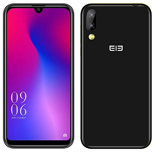 Elephone A6 Mini Android 9.0 4G Dual-SIM Smartphone Ohne Vertrag - 5,7 Zoll HD+moderner Wassertropfen Bildschirm Handy, MTK6761 2.0GHz 4GB+32GB, 16MP Frontkamera, 16MP+2MP Dual-Rückkamera - Schwarz