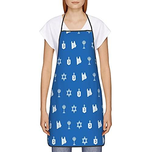 Hanukkah Motif Blue Apron for Women Men Kitchen/Outdoor Cooking BBQ Grilling Waterproof Funny Apron Bib