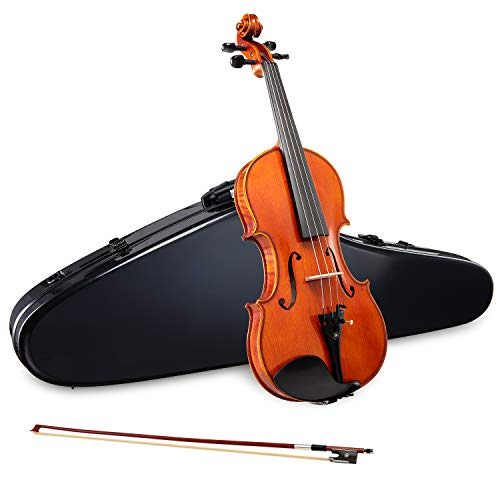LyxJam Premium Full Size Violin Set – 4/4 Maple/Spruce Violin Kit for Beginner & Intermediate Players, Rosin, Black Hard Carry Case w/Hygrometer & Strap