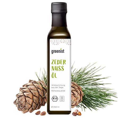 greenist Bio Zedernussöl, 250ml, roh, frisch kaltgepresst, Öl Nüsse Zedern, Taiga
