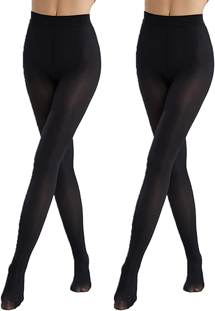 Semi Opaque Microfiber Tights, 2Pack Durable Solid Color Stockings, Footed Pantyhose for Women, Girls