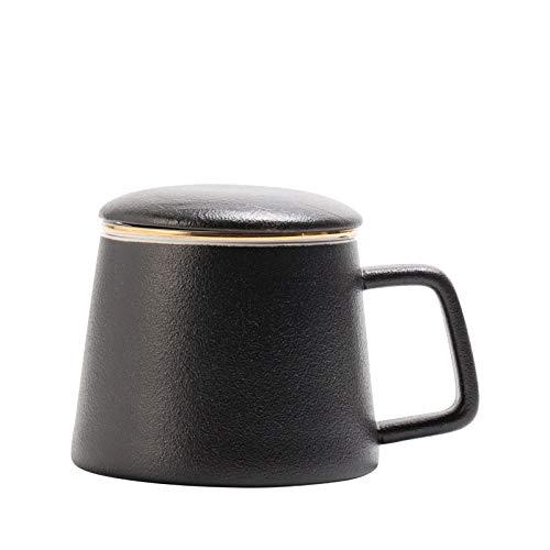 qingci Creative Filter Tea Cup Mug Flower Tea Cup 401-500Ml Sandblasted Black + Tea Concealed + Porcelain Cover
