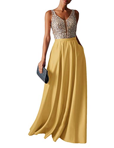 HUINI Abendkleid Lang Damen Ballkleider Hochzeitskleid Vintage Glitzer Cocktail Partykleider Brautkleider Gold 32