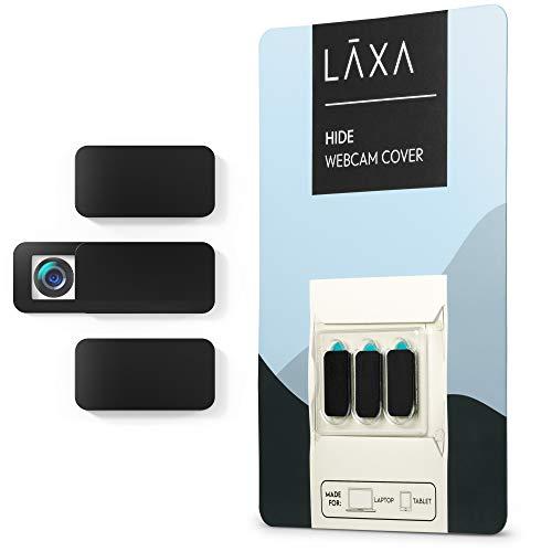 Webcam Abdeckung Cover Schutz 3er Set für Laptop, MacBook, iMac und Smartphone • Ultra dünn • Sticker mit starkem Halt • wirksamer Schutz der Kamera vor Hackern und Spionage (Schwarz)