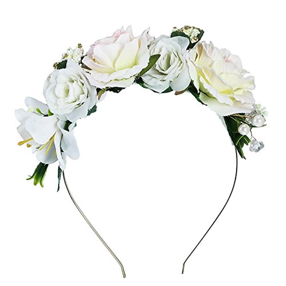 ギャロップ目的皮Yumbyss - 女性の結婚式のためのフラワーヘッドバンドブライダル髪飾り花パールヘアバンド[84]