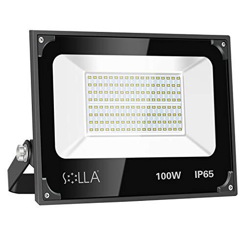 Luces de Seguridad 100W, Reflector LED Súper Brillante de 8000 Lúmenes, Luz Cálida 3000K, Foco de Paisaje Anti-rayos para Exterior Patio Trasero Jardín Azotea