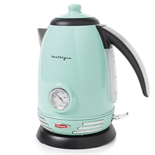 Nostalgia WK17AQ Retro Stainless Steel Electric Water Kettle, Holds 1.7...