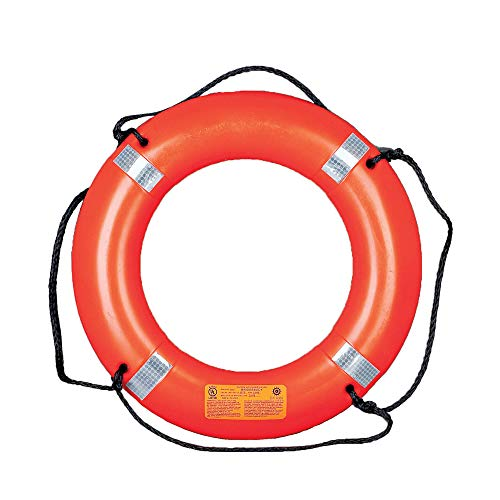 MUSTANG SURVIVAL - 30' Ring Buoy with Reflective Tape and Bridge (Orange - One Size Fits All) Solas Grade Reflective Tape for use with Mob-Signals, USCG Approved