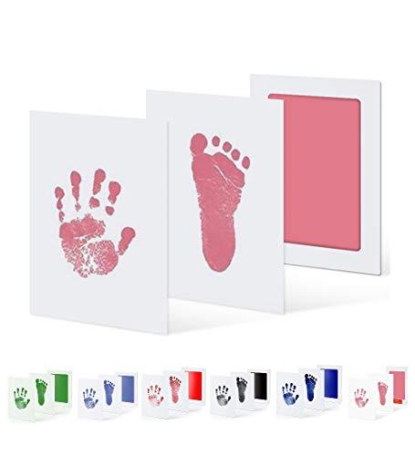 UAMITA Tampon pour imprimer des empreintes de mains et de pieds de bébé de 0 à 6 mois. L'empreinte est gravée sans aucun contact entre le bébé et l'encre. (Rose)