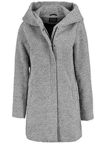 Sublevel Damen Winter-Mantel mit Kapuze aus Woll-Mix Light-Grey M