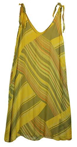 BZNA Ibiza Empire Sommerkleid Gelb gestreift Seidenkleid Bozana Sommer Herbst Seidenkleid Damen Dress Kleid elegant