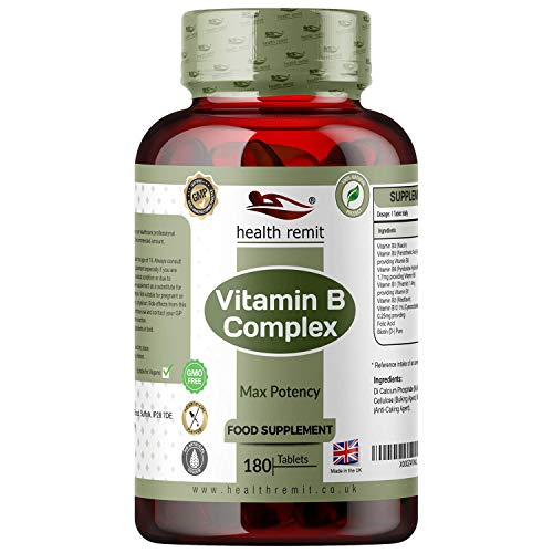 Health Remit's Vitamin B Complex Supplement – High Potency, Non-GMO, Gluten-Free Vegetarian B Complex Tablets with All B Vitamins B1, B2, B3, B5, B6, B12, 180 Tablets